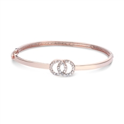 August Woods Rose Gold Crystal Link Circle Bangle