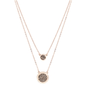 August Woods Rose Gold Grey Minerals Druzy Layer Necklace