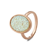 August Woods White Minerals  Druzy Ring