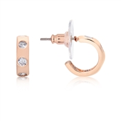 August Woods Rose Gold Thick Hoop Crystal Earrings