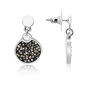 August Woods Silver Black Minerals Druzy Drop Earrings