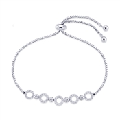 August Woods Silver Crystal Circle Pull Bracelet