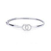 August Woods Silver Crystal Link Circle Bangle