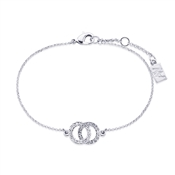 August Woods Silver Crystal Link Circle Bracelet