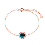 Argento Rose Gold + Green Malachite Halo Bracelet