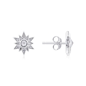 Argento Silver Crystal Star Snowflake Earrings