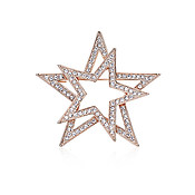 August Woods Rose Gold Crystal Star Brooch
