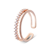August Woods Rose Gold Crystal Band Adjustable Ring