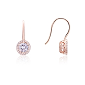 Rose Gold Halo Drop Earrings by August Woods