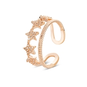 August Woods Rose Gold Crystal Star Adjustable Ring