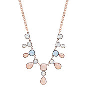 August Woods Rose Gold Rose Opal + Blue Drop Necklace
