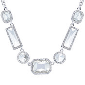 August Woods Silver Arctic Crystal Statement Necklace
