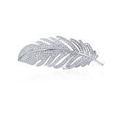August Woods Silver Crystal Feather Brooch