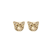 Karl Lagerfeld Gold Crystal Choupette Earrings