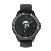 Karl Lagerfeld Ikonic Karl Black Leather Watch
