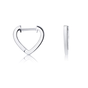 Argento Silver Heart Huggie Earrings
