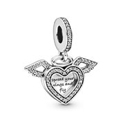 Pandora Heart & Angel Wings Dangle Charm