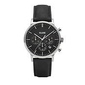 CLUSE Aravis Chrono Black Leather Mens Watch