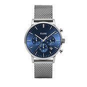 CLUSE Aravis Chrono Silver + Blue Mesh Mens Watch