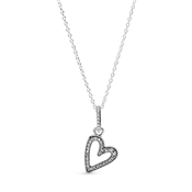 Pandora Sparkling Freehand Heart Necklace