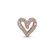 Pandora Sparkling Rose Freehand Heart Charm