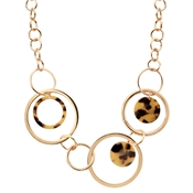 Dirty Ruby Rose Gold Tortoiseshell Circle Necklace