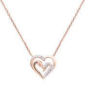 Argento Rose Gold Swan Heart Necklace