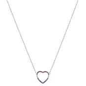 Argento Silver Rainbow Heart Necklace