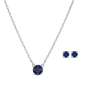Swarovski Attract Silver + Blue Round Set