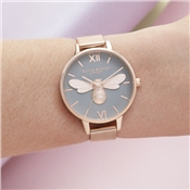 Olivia Burton Lucky Bee Grey + Rose Gold Mesh Watch