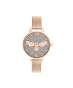 Lucky Bee Grey + Rose Gold Mesh Watch  by Olivia Burton