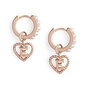 Olivia Burton Rose Gold Pearl E Initial Huggie Earrings