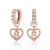 Olivia Burton Rose Gold Pearl S Initial Huggie Earrings