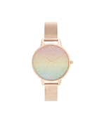 Olivia Burton Rainbow Glitter Dial Rose Gold Mesh Watch