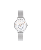 Olivia Burton You Have My Heart Silver Mesh Watch