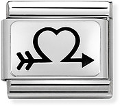 Nomination Silver Heart Arrow Charm