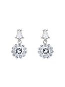 Ted Baker Silver Daisy Crystal Drop Earrings