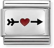 Nomination Silver Red Heart Arrow Charm