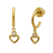 Kate Spade New York Gold Crystal Heart Hoop Earrings
