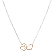 Argento Mixed Metal Paw Print Heart Necklace