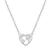 Silver Heart Globe Necklace by Argento