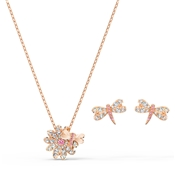 Swarovski Eternal Flower Rose Gold Dragonfly Set