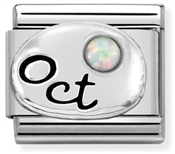 Nomination October Opal stone Birthstone Charm