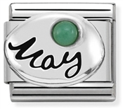 May Emerald Stone Birthstone Charm  by Nomination