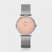 CLUSE Minuit Silver Mesh & Rose Gold Watch