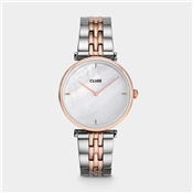 CLUSE Triomphe Silver + Rose Gold Pearl Watch