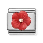 Nomination Red Flower Mother of Pearl Charm