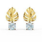 Swarovski Tropical Leaf Gold Earrings