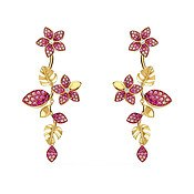 Swarovski Tropical Gold + Pink Drop Flower Earrings