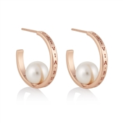Olivia Burton Rose Gold Pearl Hoop Earrings
